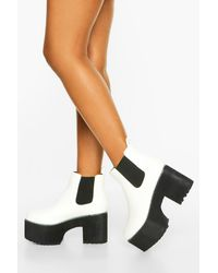 Boohoo Womens Chunky Platform Chelsea Boots - Weiß