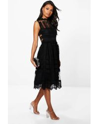 Boohoo Womens Boutique Lace Midi Skater Dress - Black - 4