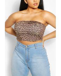 Boohoo Plus Leopard Tube Top - Brown