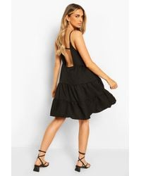 Boohoo Strappy Low Back Tiered Swing Dress - Black