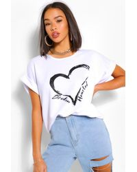 Boohoo Broken Hearted Batwing Sweatshirt Top - White
