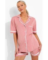 Boohoo Maternity Jersey Button Through Short Pj Set - Pink