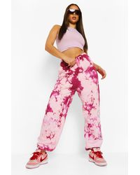 Boohoo Official Flame Print Tie Dye Jogger - Pink