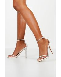 Boohoo Cross Strap Stiletto 2 Part Heels - White