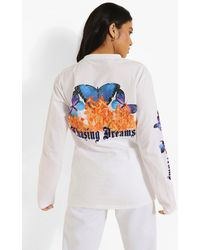 Boohoo Petite Butterfly Printed Long Sleeve T-shirt - White