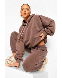 Boohoo Womens Ofcl Studio Überfärbter, Melierter Trainingsanzug - Braun