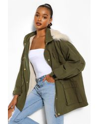 Boohoo Faux Fur Lined Hooded Parka - Green