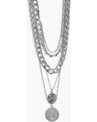 Boohoo Chunky Chain Double Coin Layered Necklace - Gris