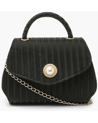 Boohoo Pleat Effect Satin Grab Bag With Strap - Black