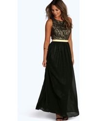 Boohoo - Boutique Lace & Metallic Maxi Dress - Lyst