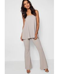 Boohoo - Longline Bandeau And Flare Co-ord Set - Lyst