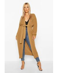 Boohoo Womens Plus Maxi-Cardigan aus Strick - Mehrfarbig