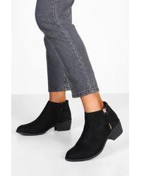 Boohoo Zip Side Round Toe Chelsea Boots - Black