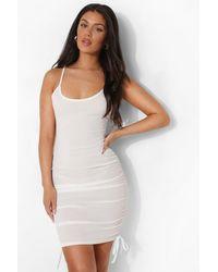 Boohoo Rib Drawstring Side Beach Dress - Bianco