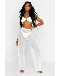 Boohoo Mesh Beach Pants - White