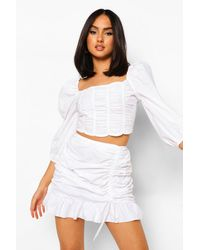 Boohoo Cotton Ruched Side Frill Mini Skirt - Bianco
