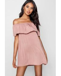 Boohoo - Off The Shoulder Swing Dress - Lyst