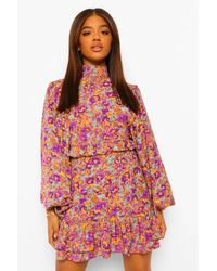 Boohoo Floral Extreme Balloon Sleeve Mini Dress - Natural