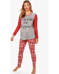 0ae797214d Boohoo Maternity Beatrice Bumps First Christmas Pyjama Set in Red - Lyst