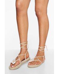 Boohoo Pearl Detail Wrap Up Sandals - Natural