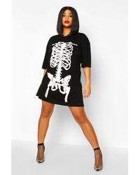Boohoo Plus Halloween Skeleton Print T-shirt Dress - Black