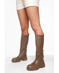 Boohoo Cleated Sole Pull On Knee High Boot - Brown