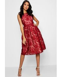 Boohoo Boutique Embroidered Skater Bridesmaid Dress