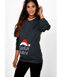 Boohoo - Womens Maternity Santa Baby Christmas Sweater - Lyst