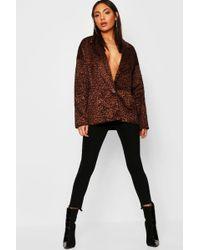 Boohoo Faux Fur Leopard Kimono Blazer - Brown