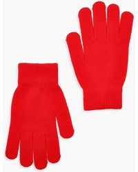 Boohoo Womens Basic Gloves - Red