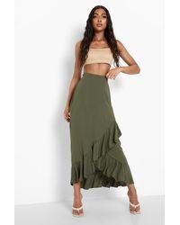 Boohoo Tall Ruffle Wrap Midi Skirt - Green