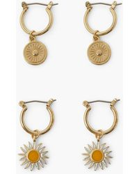 Boohoo 2 Pack Sun Disc Hoop Earrings - Metallizzato