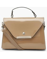 Boohoo Patent Small Structured Tote Bag - Natural