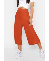 Boohoo Petite Rib Wide Leg Culottes - Orange
