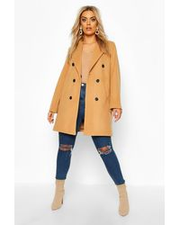 Boohoo Womens Plus Double Breasted Coat - Natur