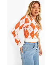 Boohoo Argyle Knitted Sleeveless Asymmetrical Jumper - Orange