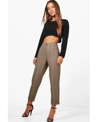 Boohoo - Petite Rachel Checked Tapered Trouser - Lyst