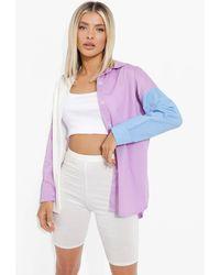 Boohoo Colour Block Oversized Shirt - Morado