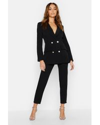 Boohoo Double Breasted Military Blazer - Black