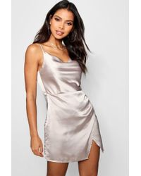 Boohoo - Tia Cowl Neck Wrap Front Luxe Satin Mini Dress - Lyst