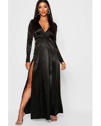 f2878746b9c2 Boohoo Cold Shoulder Crochet Neck Maxi Dress in Black - Lyst