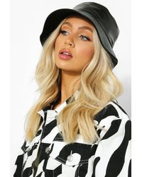Boohoo Faux Leather Bucket Hat - Negro