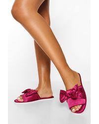 Boohoo Knot Front Satin Slippers - Purple