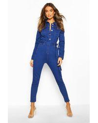 Boohoo Womens Button Front Denim Boiler Suit - Blau