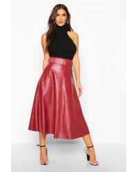 Boohoo Leather Look Self Belt Skater Skirt - Red