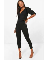 Boohoo Wrap Rouche Top & Pants Two-piece Set - Black