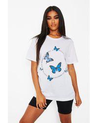 Boohoo Butterfly Circle Slogon T-shirt - White
