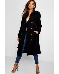 Boohoo Belted Wool Look Trench - Black