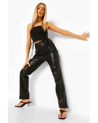 Boohoo Pu Leather Look Lace Up Straight Leg Pants - Black