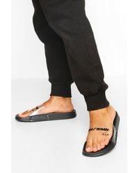 Boohoo Clear Strap Woman Slides - Black